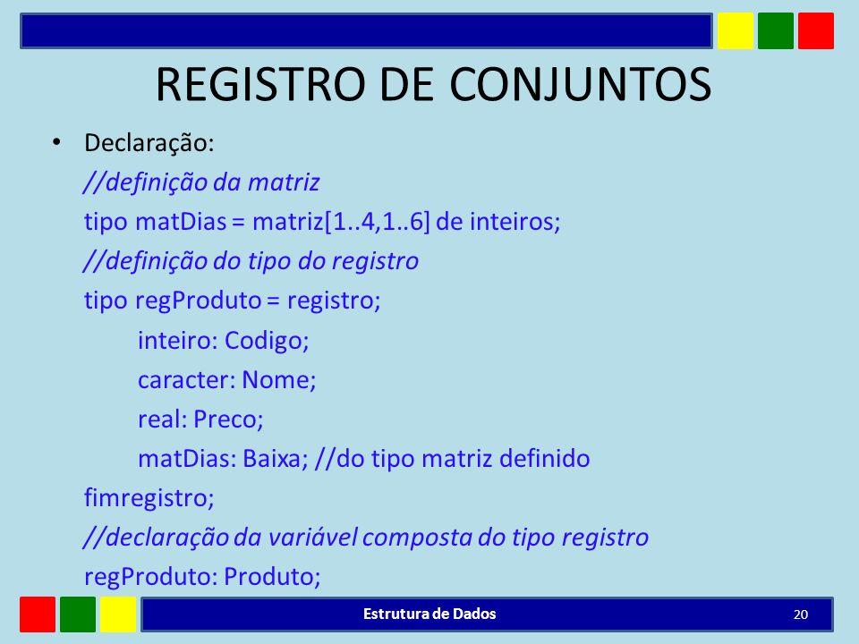 REGISTRO DE CONJUNTOS Declaração: //definição da matriz tipo matDias = matriz[1..4,1..6] de inteiros; //definição do tipo do registro tipo regProduto