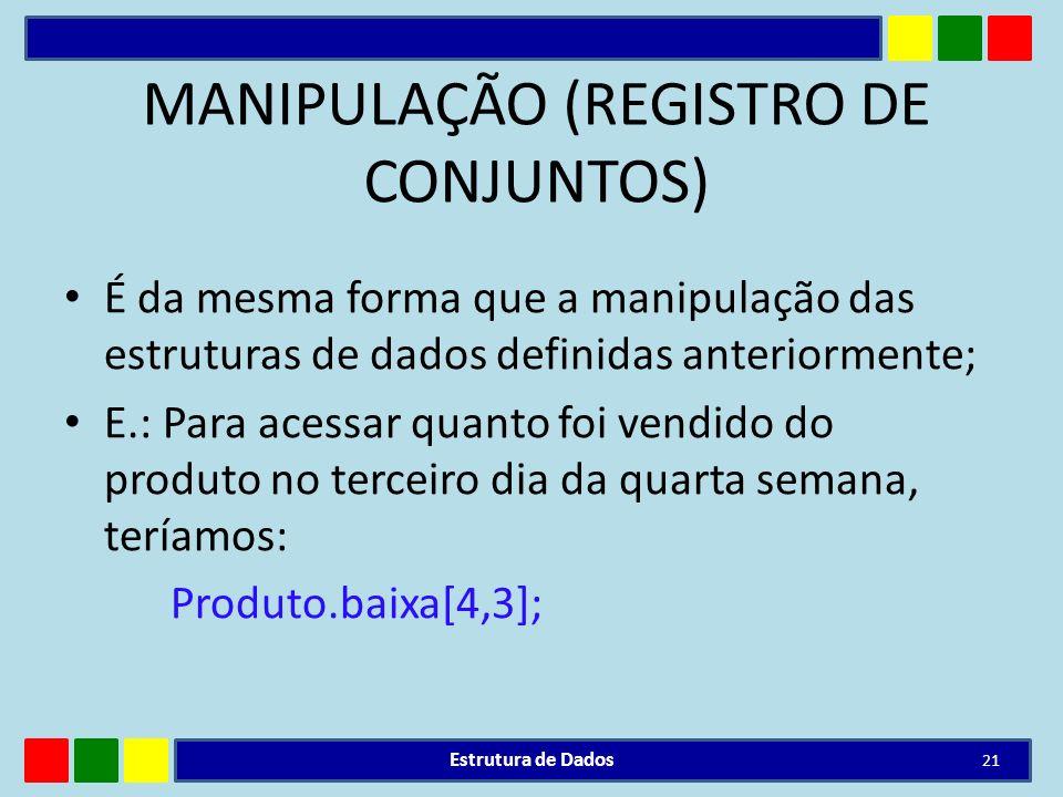 MANIPULAÇÃO (REGISTRO DE CONJUNTOS) É da mesma forma que a manipulação das estruturas de dados definidas anteriormente; E.: Para acessar quanto foi ve