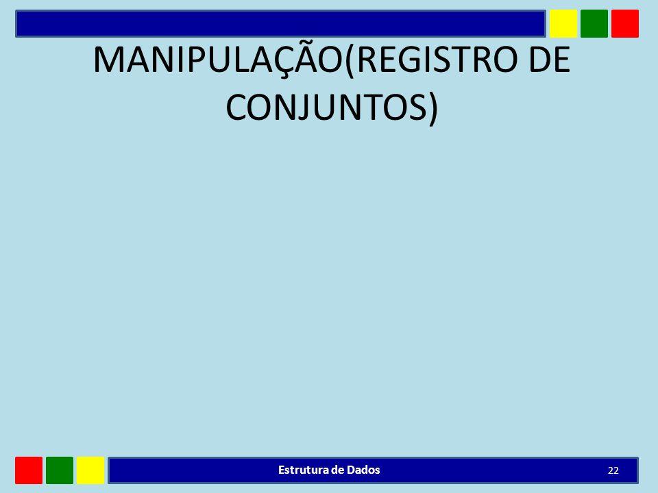 MANIPULAÇÃO(REGISTRO DE CONJUNTOS) Estrutura de Dados 22