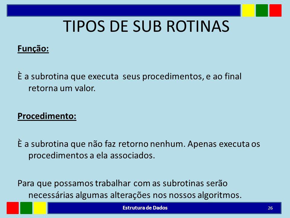 TIPOS DE SUB ROTINAS Função: È a subrotina que executa seus procedimentos, e ao final retorna um valor. Procedimento: È a subrotina que não faz retorn