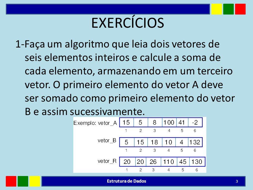 RESPOSTA Algoritmo Soma_vetores Declare i: inteiro vetor_A: Vetor [1..6] de real vetor_B: Vetor [1..6] de real vetor_R: Vetor [1..6] de real Inicio Para i := 1 ate 6 Faca Escreva( entre com o valor para a posição , i, no vetor A: ) Leia(vetor_A[i]) Escreva ( entre com o valor para a posição , i,no vetor B: ) Leia (vetor_B[i]) Fimpara Para i := 1 ate 6 Faca vetor_R[i]<- vetor_A[i] + vetor_B[i] Fimpara Para i de 1 ate 6 faca Escreval( i, - , vetor_R[ i ] ) Fimpara Fim Estrutura de Dados 4