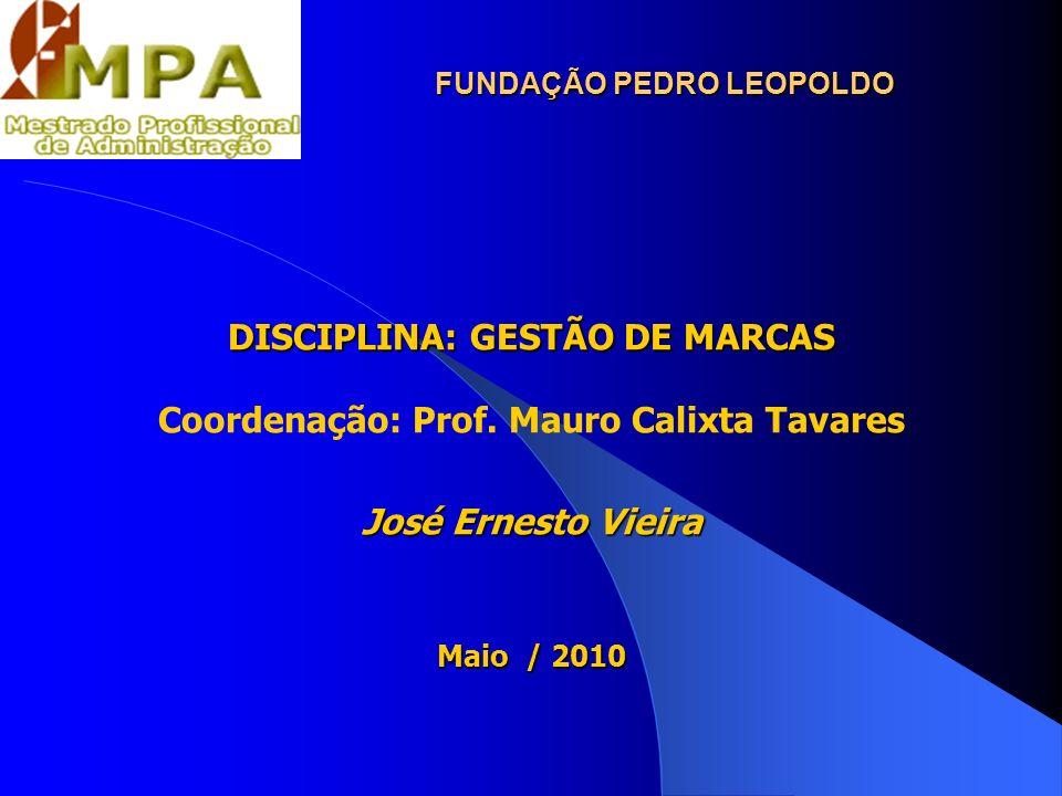 FUNDAÇÃO PEDRO LEOPOLDO DISCIPLINA: GESTÃO DE MARCAS Coordenação: Prof. Mauro Calixta Tavares José Ernesto Vieira Maio / 2010