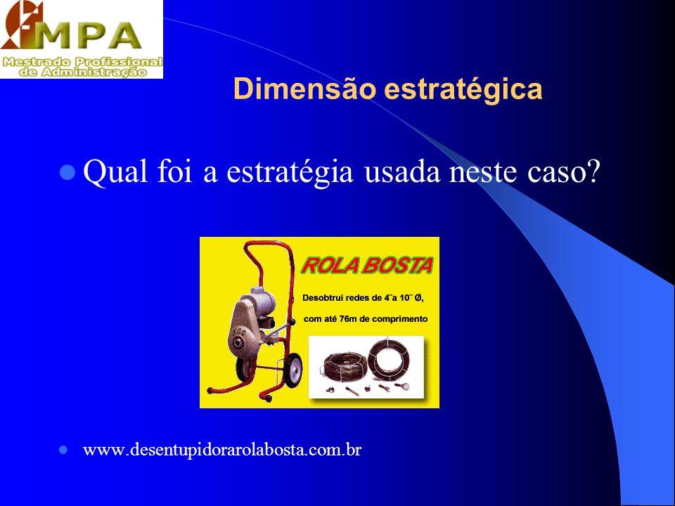 Dimensão estratégica Qual foi a estratégia usada neste caso? www.desentupidorarolabosta.com.br
