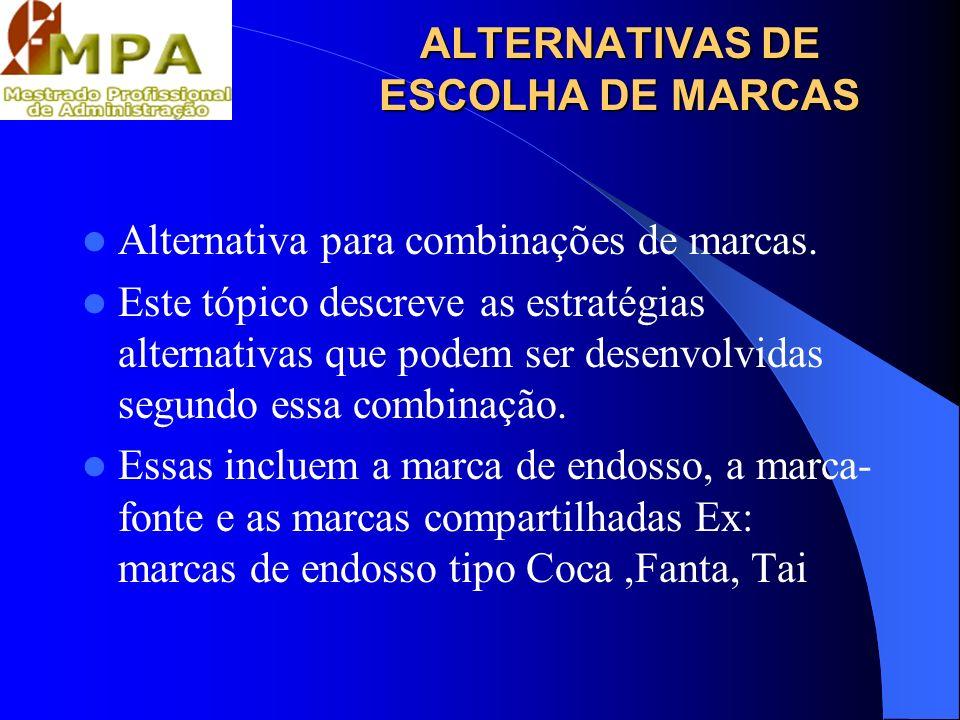 ALTERNATIVAS DE ESCOLHA DE MARCAS Alternativa para combinações de marcas. Este tópico descreve as estratégias alternativas que podem ser desenvolvidas