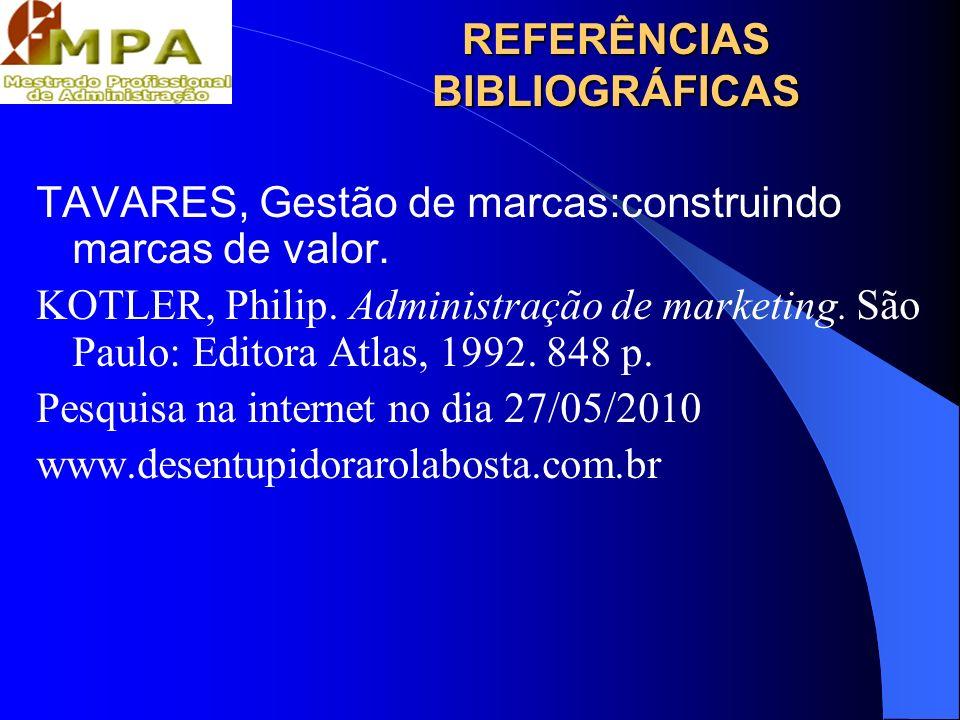 REFERÊNCIAS BIBLIOGRÁFICAS TAVARES, Gestão de marcas:construindo marcas de valor. KOTLER, Philip. Administração de marketing. São Paulo: Editora Atlas