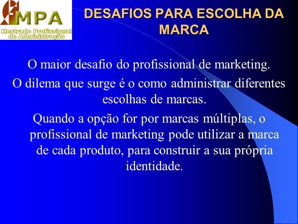 DESAFIOS PARA ESCOLHA DA MARCA O maior desafio do profissional de marketing. O dilema que surge é o como administrar diferentes escolhas de marcas. Qu
