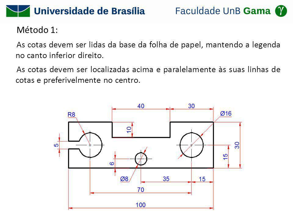 Método 1: As cotas devem ser lidas da base da folha de papel, mantendo a legenda no canto inferior direito. As cotas devem ser localizadas acima e par