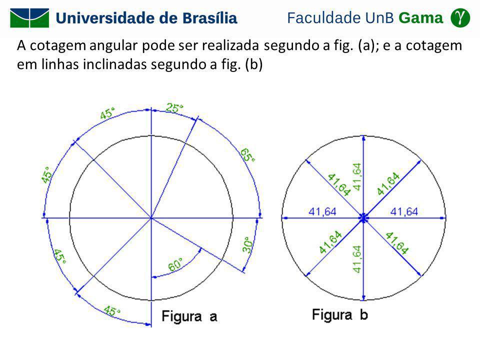 A cotagem angular pode ser realizada segundo a fig. (a); e a cotagem em linhas inclinadas segundo a fig. (b)