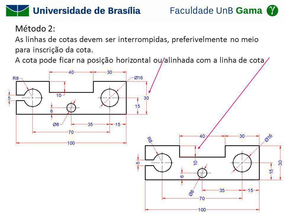 Método 2: As linhas de cotas devem ser interrompidas, preferivelmente no meio para inscrição da cota. A cota pode ficar na posição horizontal ou alinh