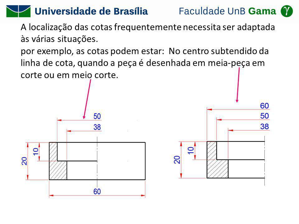 A localização das cotas frequentemente necessita ser adaptada às várias situações. por exemplo, as cotas podem estar: No centro subtendido da linha de