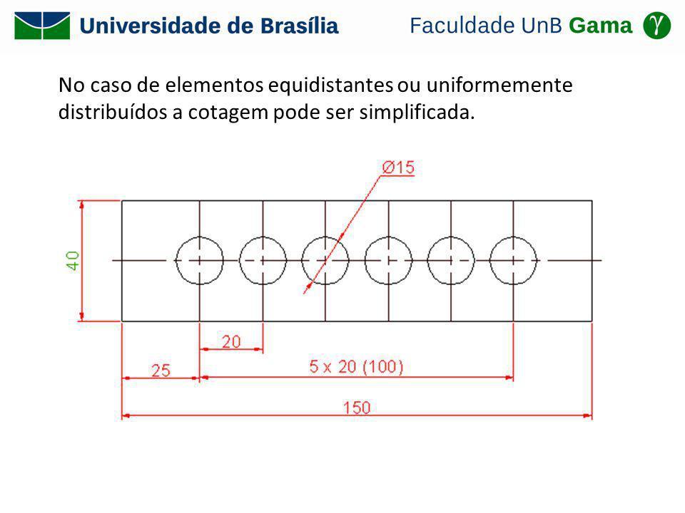 No caso de elementos equidistantes ou uniformemente distribuídos a cotagem pode ser simplificada.