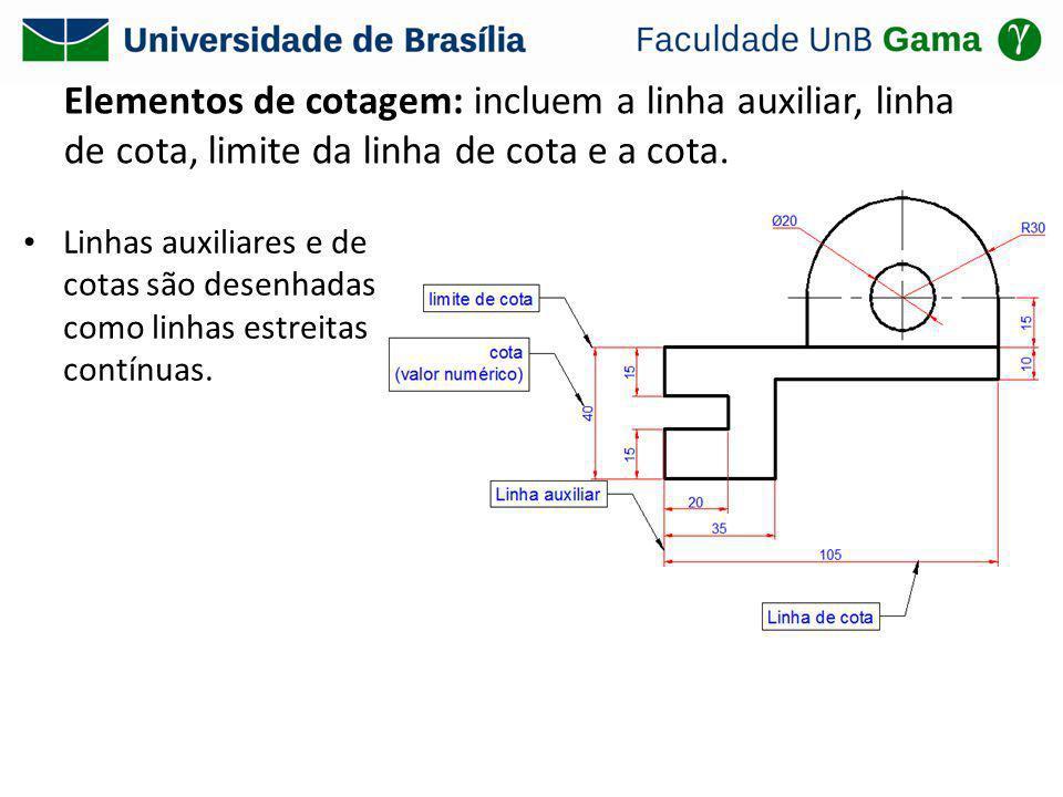 Elementos de cotagem: incluem a linha auxiliar, linha de cota, limite da linha de cota e a cota. Linhas auxiliares e de cotas são desenhadas como linh