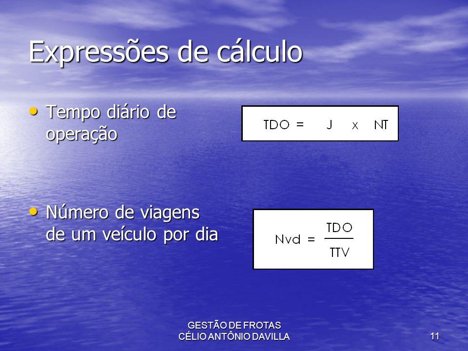 GESTÃO DE FROTAS CÉLIO ANTÔNIO DAVILLA11 Expressões de cálculo Tempo diário de operação Tempo diário de operação Número de viagens de um veículo por d