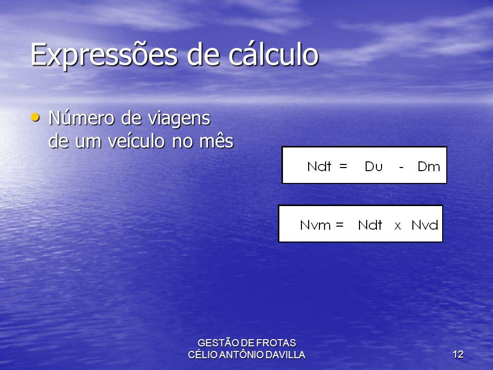 GESTÃO DE FROTAS CÉLIO ANTÔNIO DAVILLA12 Expressões de cálculo Número de viagens de um veículo no mês Número de viagens de um veículo no mês