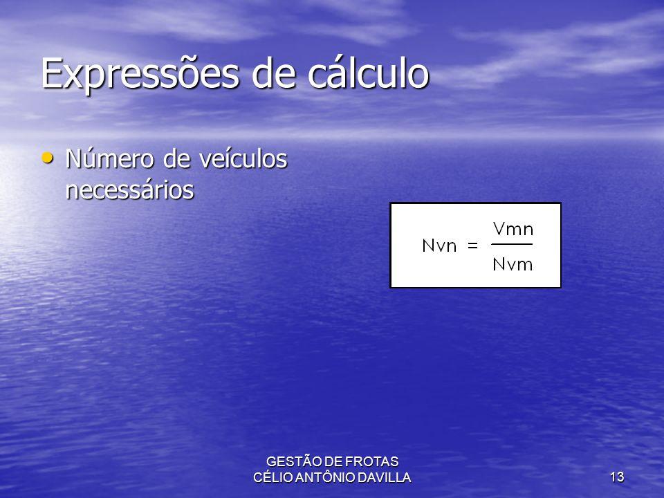 GESTÃO DE FROTAS CÉLIO ANTÔNIO DAVILLA13 Expressões de cálculo Número de veículos necessários Número de veículos necessários