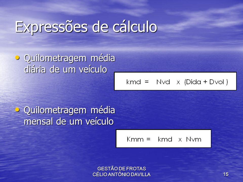 GESTÃO DE FROTAS CÉLIO ANTÔNIO DAVILLA15 Expressões de cálculo Quilometragem média diária de um veículo Quilometragem média diária de um veículo Quilo