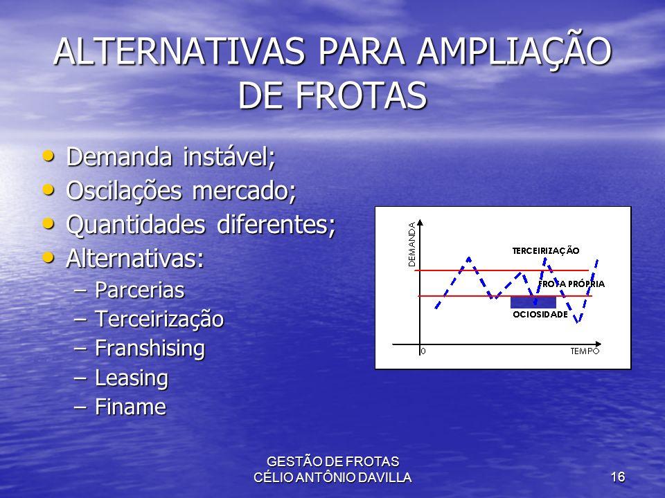 GESTÃO DE FROTAS CÉLIO ANTÔNIO DAVILLA16 ALTERNATIVAS PARA AMPLIAÇÃO DE FROTAS Demanda instável; Demanda instável; Oscilações mercado; Oscilações merc