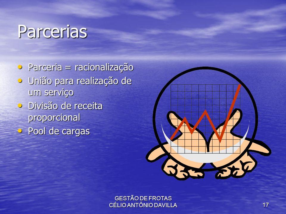 GESTÃO DE FROTAS CÉLIO ANTÔNIO DAVILLA17 Parcerias Parceria = racionalização Parceria = racionalização União para realização de um serviço União para