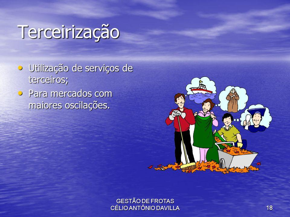 GESTÃO DE FROTAS CÉLIO ANTÔNIO DAVILLA18 Terceirização Utilização de serviços de terceiros; Utilização de serviços de terceiros; Para mercados com mai