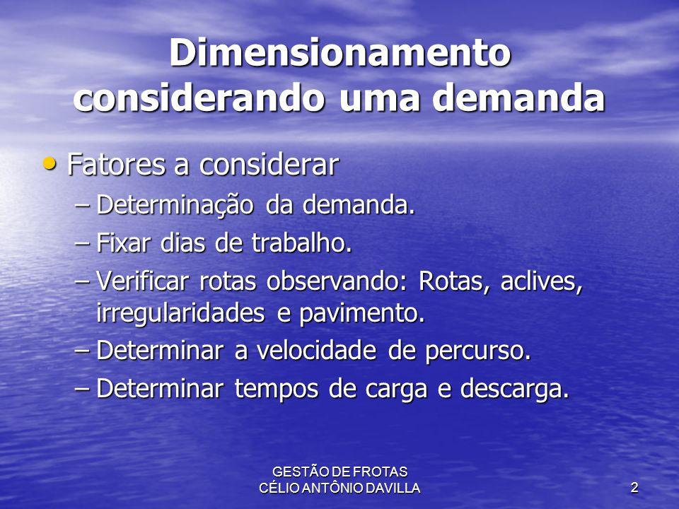 GESTÃO DE FROTAS CÉLIO ANTÔNIO DAVILLA2 Dimensionamento considerando uma demanda Fatores a considerar Fatores a considerar –Determinação da demanda. –