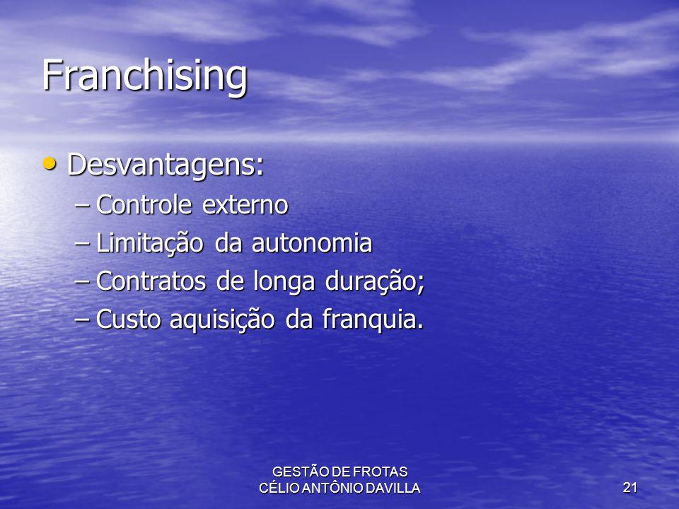 GESTÃO DE FROTAS CÉLIO ANTÔNIO DAVILLA21 Franchising Desvantagens: Desvantagens: –Controle externo –Limitação da autonomia –Contratos de longa duração