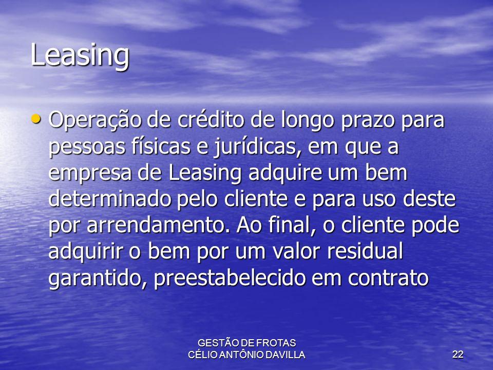 GESTÃO DE FROTAS CÉLIO ANTÔNIO DAVILLA22 Leasing Operação de crédito de longo prazo para pessoas físicas e jurídicas, em que a empresa de Leasing adqu