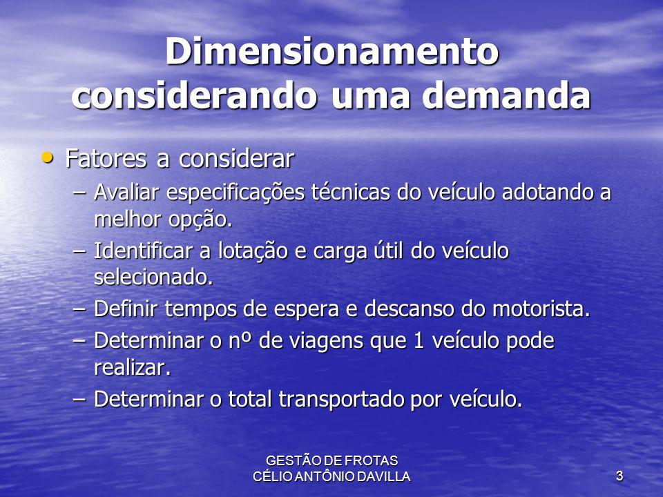 GESTÃO DE FROTAS CÉLIO ANTÔNIO DAVILLA3 Dimensionamento considerando uma demanda Fatores a considerar Fatores a considerar –Avaliar especificações téc