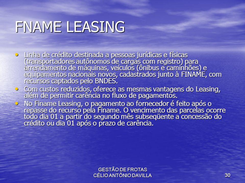 GESTÃO DE FROTAS CÉLIO ANTÔNIO DAVILLA30 FNAME LEASING Linha de crédito destinada a pessoas jurídicas e físicas (transportadores autônomos de cargas c