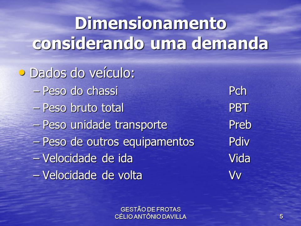 GESTÃO DE FROTAS CÉLIO ANTÔNIO DAVILLA5 Dimensionamento considerando uma demanda Dados do veículo: Dados do veículo: –Peso do chassiPch –Peso bruto to
