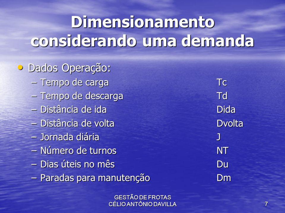 GESTÃO DE FROTAS CÉLIO ANTÔNIO DAVILLA7 Dimensionamento considerando uma demanda Dados Operação: Dados Operação: –Tempo de cargaTc –Tempo de descargaT