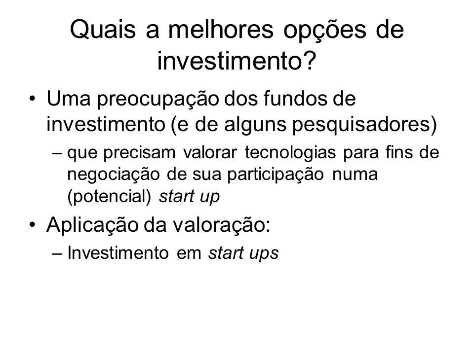 Quais a melhores opções de investimento? Uma preocupação dos fundos de investimento (e de alguns pesquisadores) –que precisam valorar tecnologias para