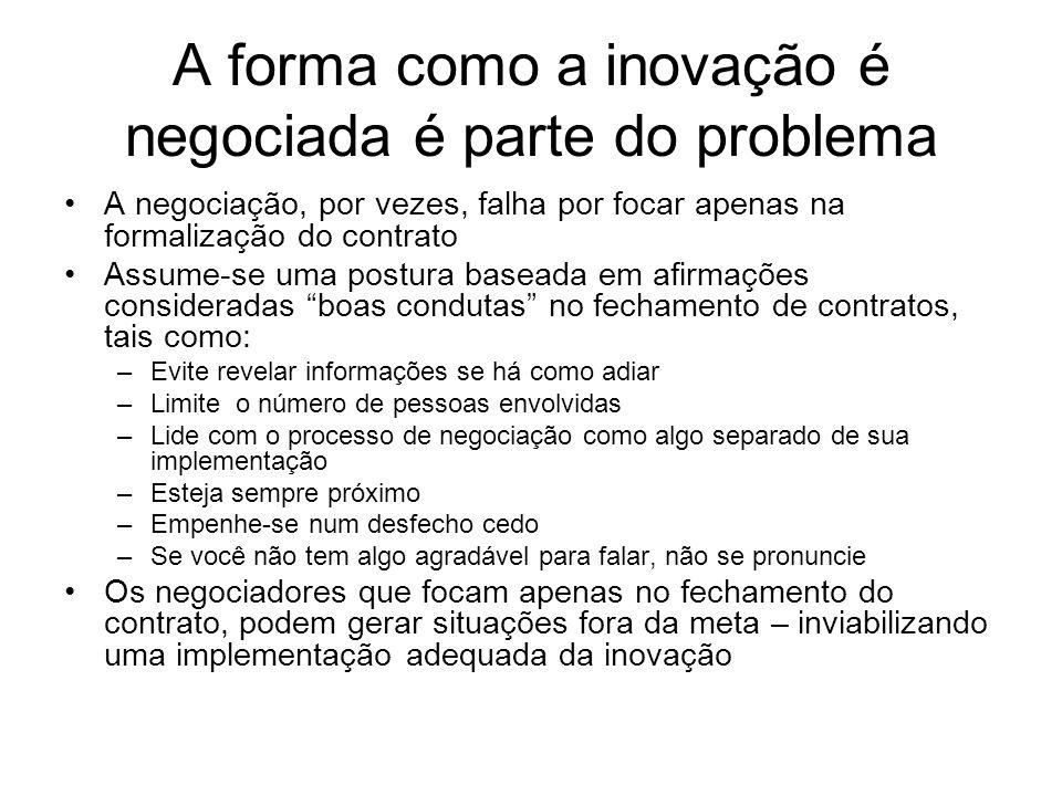 A forma como a inovação é negociada é parte do problema A negociação, por vezes, falha por focar apenas na formalização do contrato Assume-se uma post
