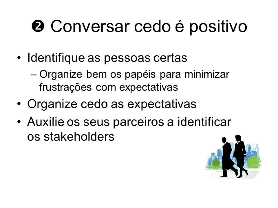 Conversar cedo é positivo Identifique as pessoas certas –Organize bem os papéis para minimizar frustrações com expectativas Organize cedo as expectati