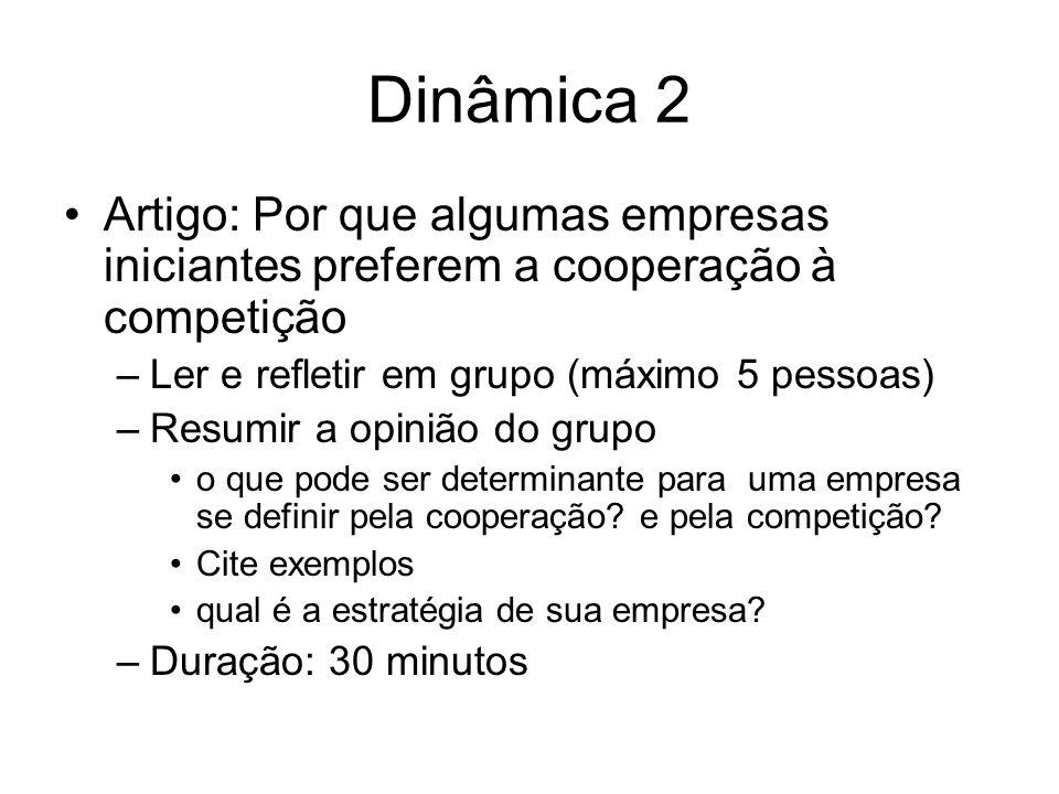 Dinâmica 2 Artigo: Por que algumas empresas iniciantes preferem a cooperação à competição –Ler e refletir em grupo (máximo 5 pessoas) –Resumir a opini