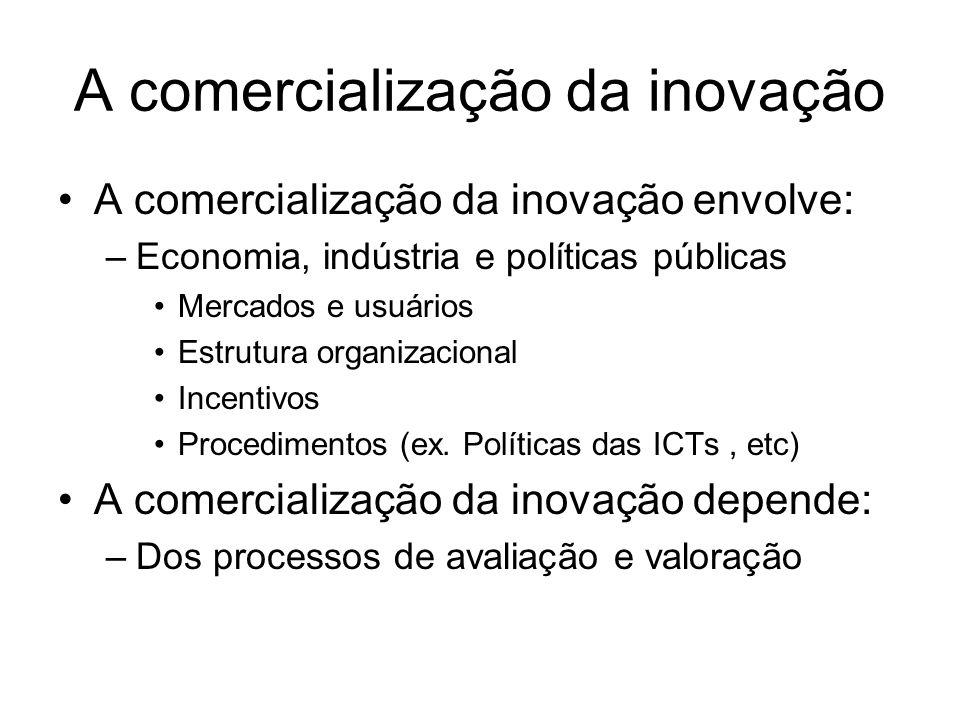A comercialização da inovação A comercialização da inovação envolve: –Economia, indústria e políticas públicas Mercados e usuários Estrutura organizac