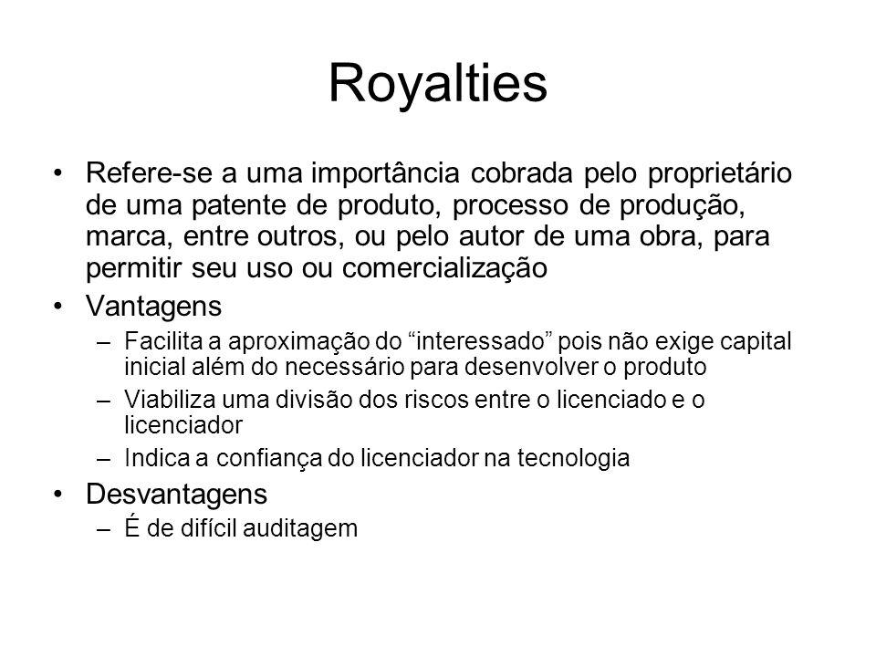 Royalties Refere-se a uma importância cobrada pelo proprietário de uma patente de produto, processo de produção, marca, entre outros, ou pelo autor de