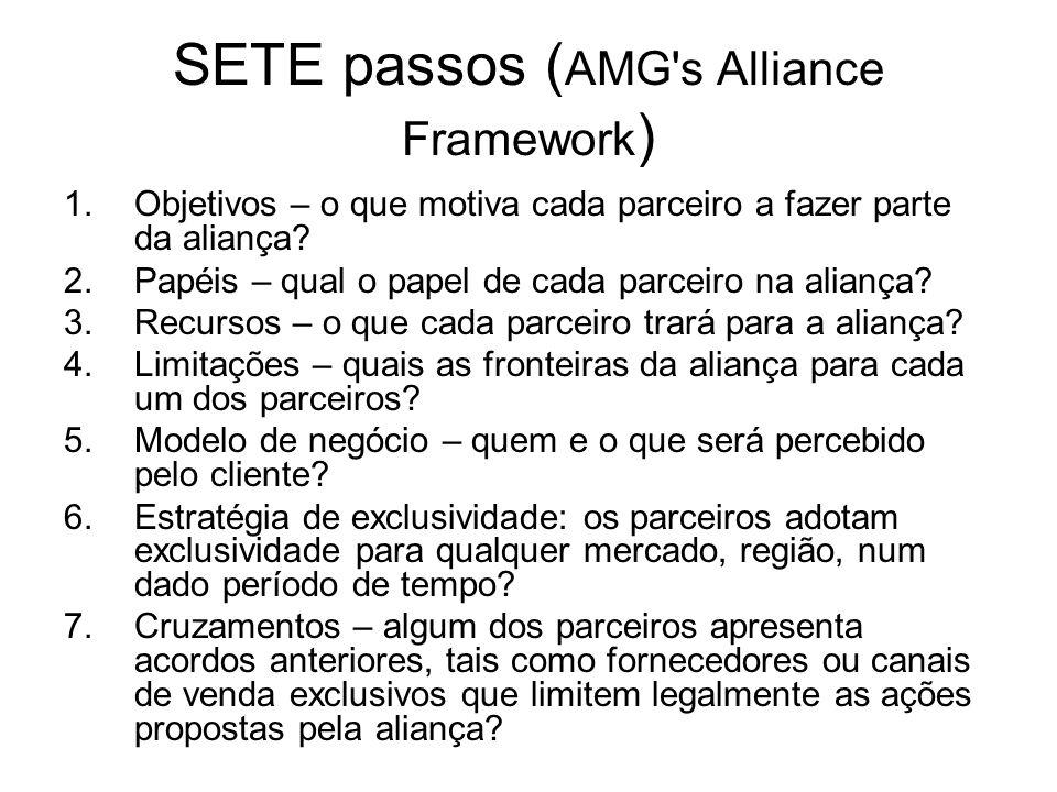 SETE passos ( AMG's Alliance Framework ) 1.Objetivos – o que motiva cada parceiro a fazer parte da aliança? 2.Papéis – qual o papel de cada parceiro n