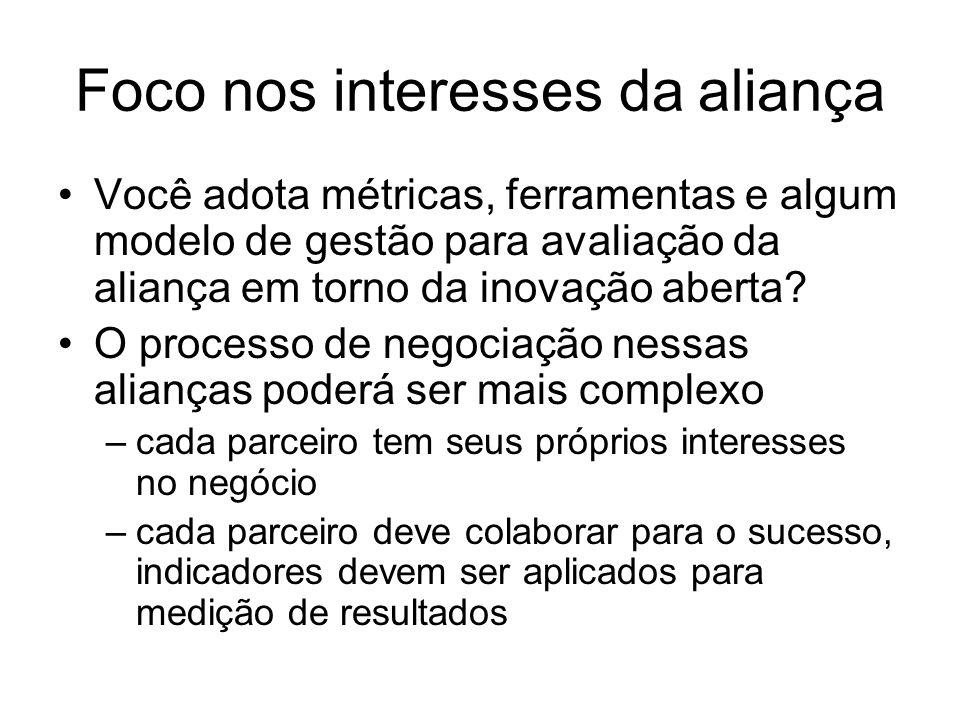 Foco nos interesses da aliança Você adota métricas, ferramentas e algum modelo de gestão para avaliação da aliança em torno da inovação aberta? O proc