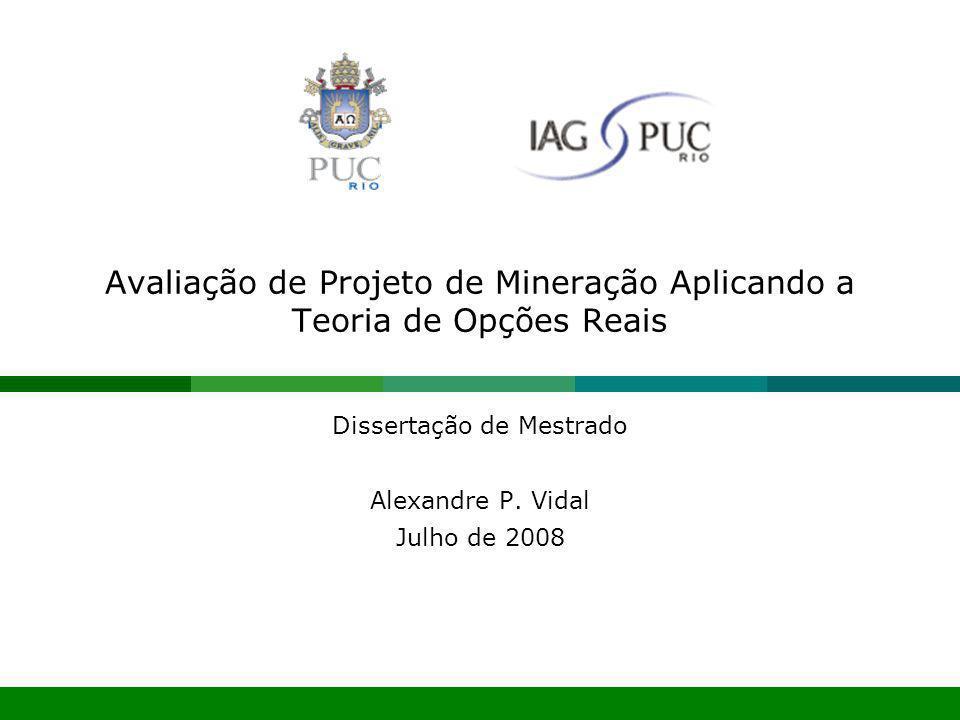Julho 2008Avaliação de Projeto de Mineração Aplicando a Teoria de Opções Reais22 Julho 2008Avaliação de Projeto de Mineração Aplicando a Teoria de Opções Reais22 APLICAÇÃO DO MODELO DE OPÇÕES REAIS Variável de Incerteza –Preço do Minério de Ferro –Desvio padrão do preço do minério de ferro Década de 80 e 90: Últimos 27 anos: