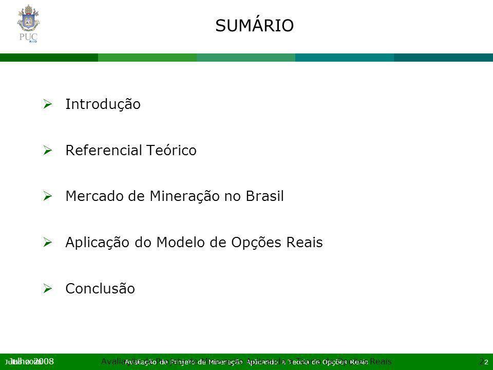 Julho 2008Avaliação de Projeto de Mineração Aplicando a Teoria de Opções Reais13 Julho 2008Avaliação de Projeto de Mineração Aplicando a Teoria de Opções Reais13 SUMÁRIO Introdução Referencial Teórico Mercado de Mineração no Brasil Aplicação do Modelo de Opções Reais Conclusão