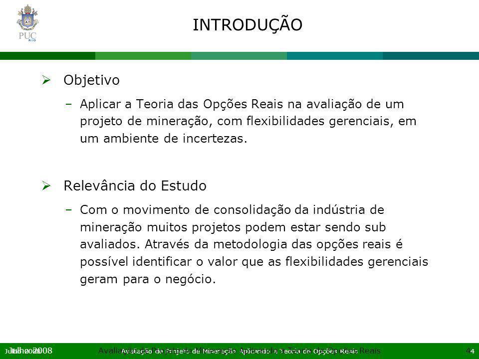 Julho 2008Avaliação de Projeto de Mineração Aplicando a Teoria de Opções Reais5 Julho 2008Avaliação de Projeto de Mineração Aplicando a Teoria de Opções Reais5 SUMÁRIO Introdução Referencial Teórico Mercado de Mineração no Brasil Aplicação do Modelo de Opções Reais Conclusão