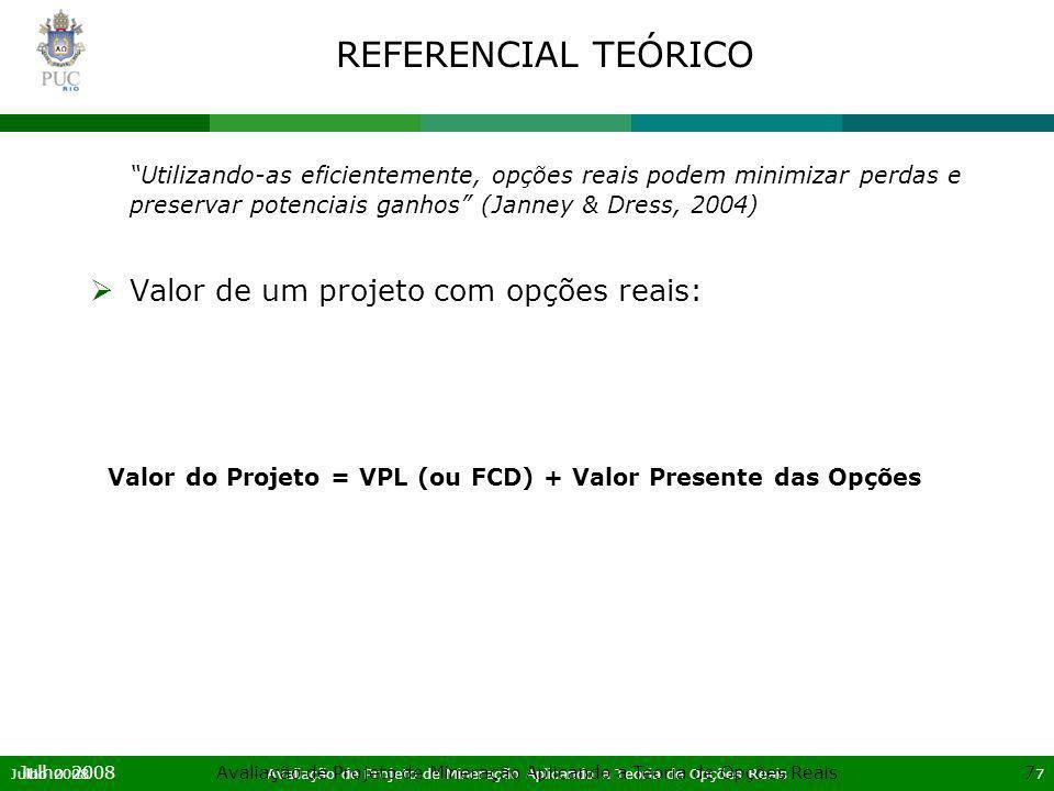Julho 2008Avaliação de Projeto de Mineração Aplicando a Teoria de Opções Reais28 Julho 2008Avaliação de Projeto de Mineração Aplicando a Teoria de Opções Reais28 APLICAÇÃO DO MODELO DE OPÇÕES REAIS Passo 2 – Modelagem da árvore de eventos –Neutralidade ao risco: Para utilizar o fluxo de caixa no modelo binomial com o princípio de neutralidade ao risco é preciso descontar o prêmio de risco do preço do minério, a variável estocástica.
