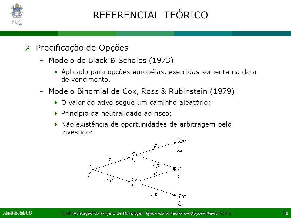 Julho 2008Avaliação de Projeto de Mineração Aplicando a Teoria de Opções Reais19 Julho 2008Avaliação de Projeto de Mineração Aplicando a Teoria de Opções Reais19 APLICAÇÃO DO MODELO DE OPÇÕES REAIS Modelagem Financeira Fluxo de Caixa (=) Receita Bruta (-) Despesas Logísticas (=) Receita Líquida (-) Royalties (-) Custo de Produção (-) Despesas Ger.