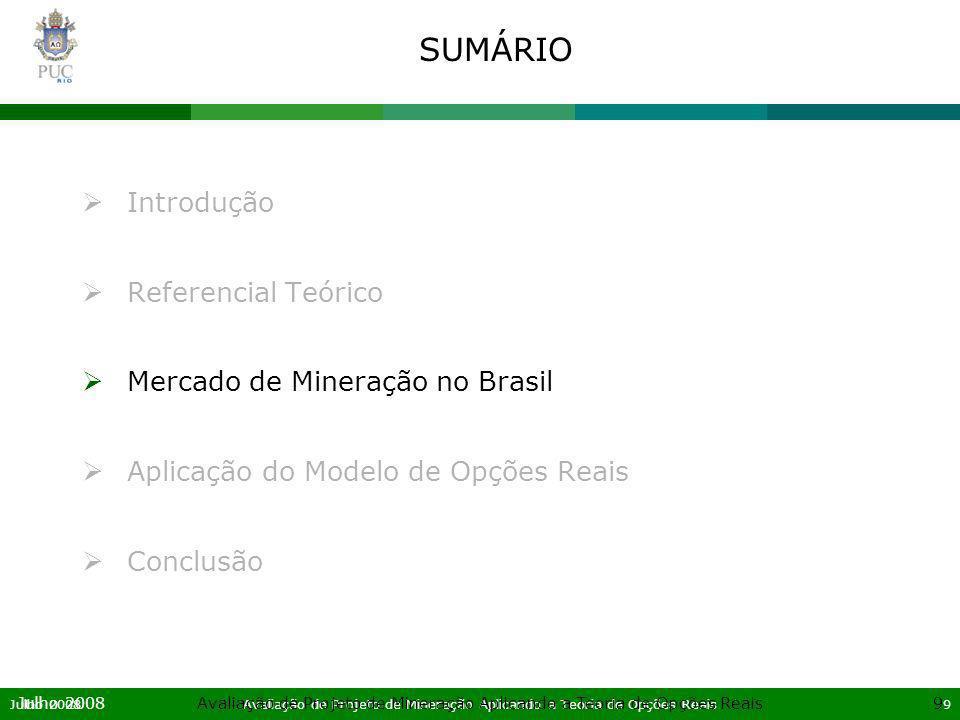 Julho 2008Avaliação de Projeto de Mineração Aplicando a Teoria de Opções Reais10 Julho 2008Avaliação de Projeto de Mineração Aplicando a Teoria de Opções Reais10 MERCADO DE MINERAÇÃO NO BRASIL O Brasil ocupa uma posição de destaque no mercado internacional de commodities minerais