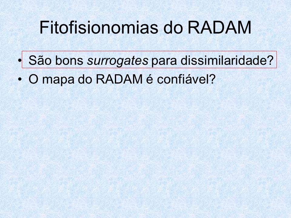 Fitofisionomias do RADAM São bons surrogates para dissimilaridade? O mapa do RADAM é confiável?