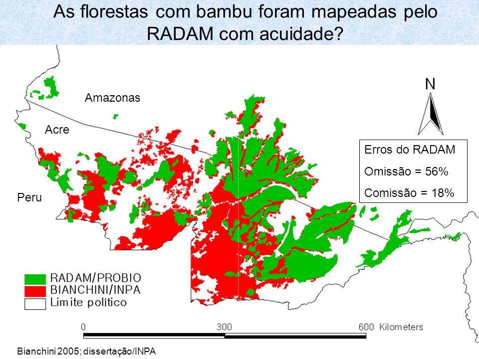 As florestas com bambu foram mapeadas pelo RADAM com acuidade? Erros do RADAM Omissão = 56% Comissão = 18% Acre Amazonas Peru Bianchini 2005; disserta