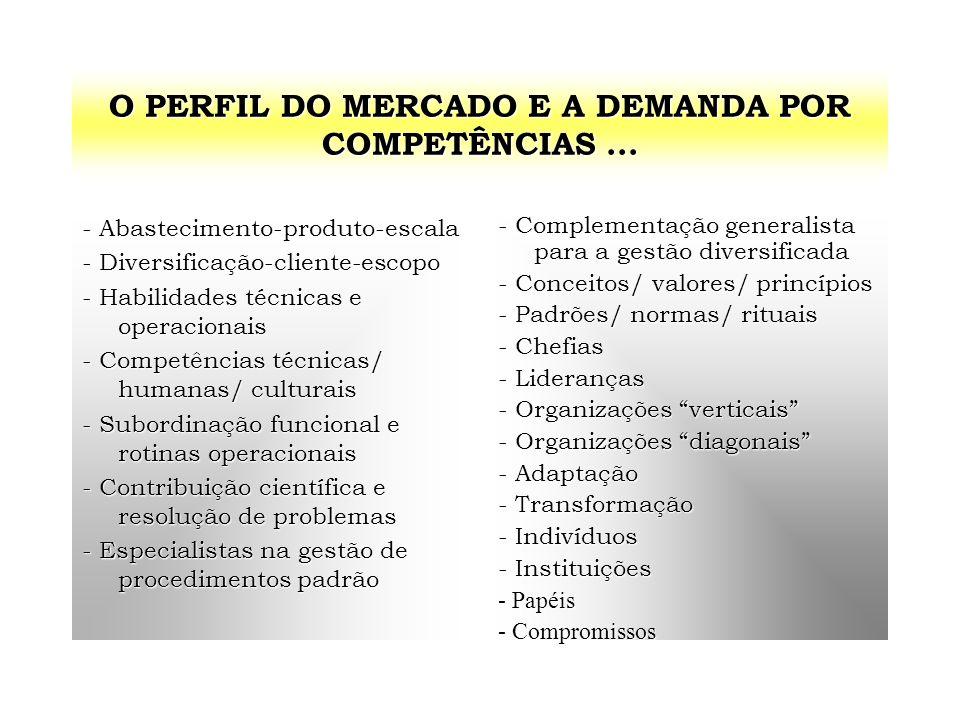O PERFIL DO MERCADO E A DEMANDA POR COMPETÊNCIAS... - Abastecimento-produto-escala - Diversificação-cliente-escopo - Habilidades técnicas e operaciona