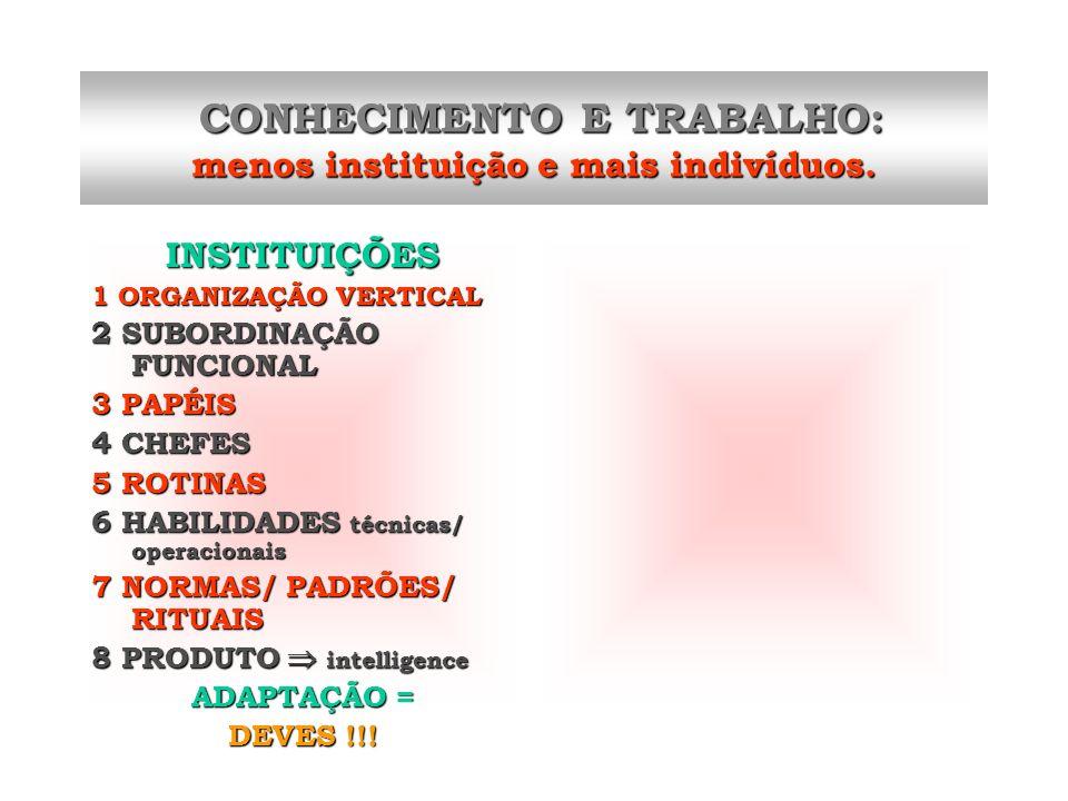 INSTITUIÇÕES 1 ORGANIZAÇÃO VERTICAL 2 SUBORDINAÇÃO FUNCIONAL 3 PAPÉIS 4 CHEFES 5 ROTINAS 6 HABILIDADES técnicas/ operacionais 7 NORMAS/ PADRÕES/ RITUA