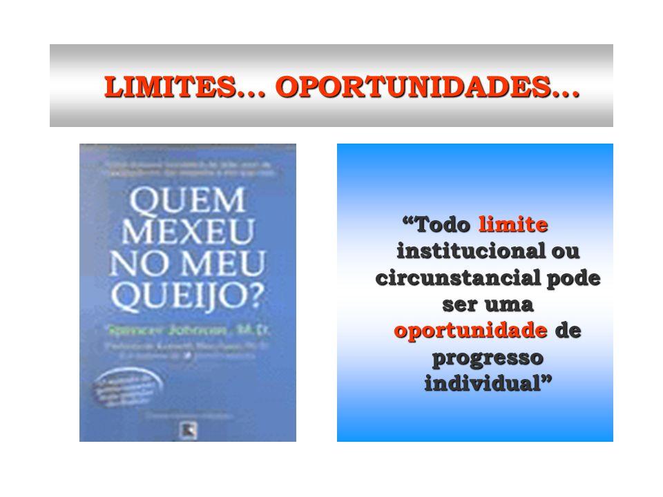 LIMITES... OPORTUNIDADES... LIMITES... OPORTUNIDADES... Todo limite institucional ou circunstancial pode ser uma oportunidade de progresso individual