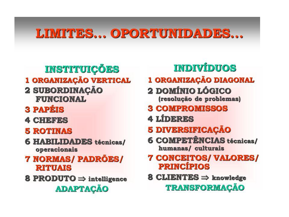 LIMITES... OPORTUNIDADES... LIMITES... OPORTUNIDADES... INSTITUIÇÕES 1 ORGANIZAÇÃO VERTICAL 2 SUBORDINAÇÃO FUNCIONAL 3 PAPÉIS 4 CHEFES 5 ROTINAS 6 HAB